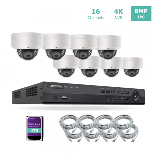 16ch 4K NVR KIT with 8pcs 8MP IP Dome Cameras